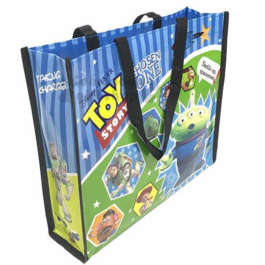 〔小禮堂〕迪士尼  玩具總動員 不織布購物手提袋《藍.直紋.星星.黑提把》銅板小物 1