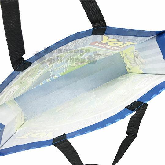 〔小禮堂〕迪士尼  玩具總動員 不織布購物手提袋《藍.直紋.星星.黑提把》銅板小物 2