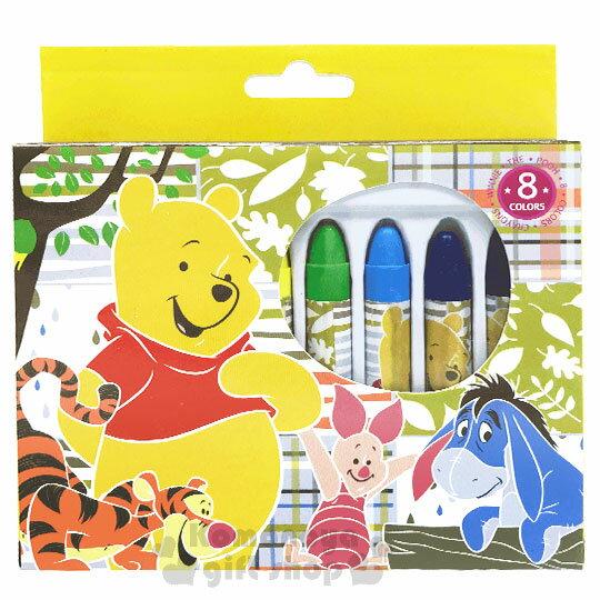 〔小禮堂〕迪士尼 小熊維尼 盒裝8色蠟筆組《黃.朋友》美術用品.銅板小物 0