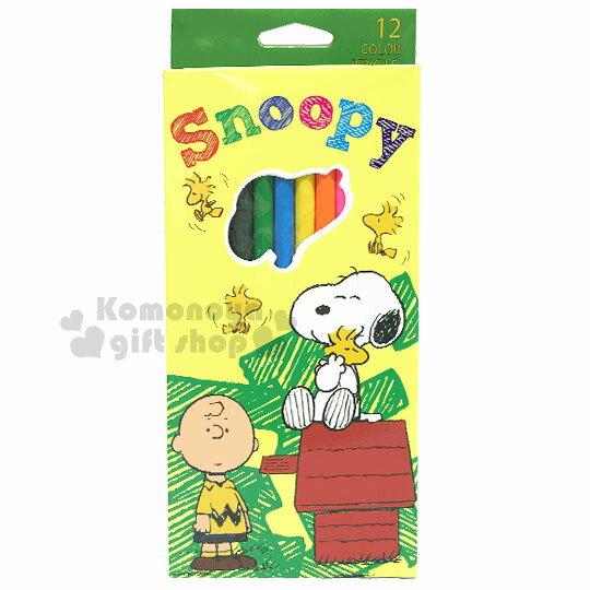 〔小禮堂〕史努比 盒裝12色色鉛筆《綠黃.紅屋子》美術用品.銅板小物 0