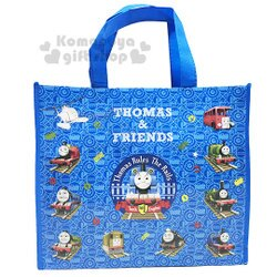 〔小禮堂〕湯瑪士小火車 不織布購物手提袋《藍.火車.滿版》銅板小物