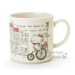 〔小禮堂〕Hello Kitty 日製陶瓷馬克杯《米.腳踏車》咖啡杯.精緻盒裝.YAMAKA陶瓷