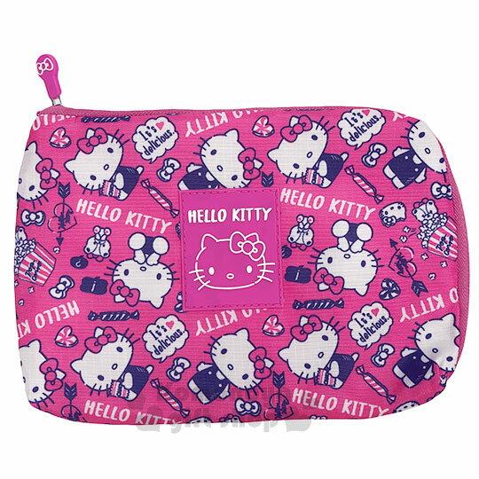 〔小禮堂〕Hello Kitty 尼龍扁平化妝包《桃.爆米花.滿版》收納包.萬用包 0