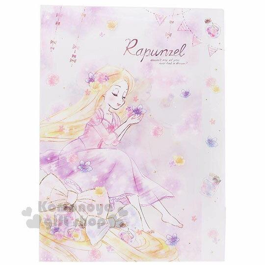 〔小禮堂〕迪士尼 長髮公主魔髮奇緣 日製L型分類文件夾《白紫.拿花》資料夾.L夾.檔案夾