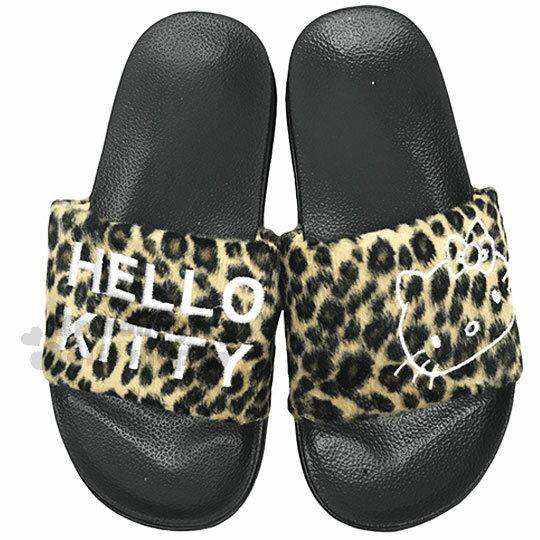 〔小禮堂〕Hello Kitty 絨布厚底拖鞋《36號.棕.大臉.豹紋》室內拖鞋 0