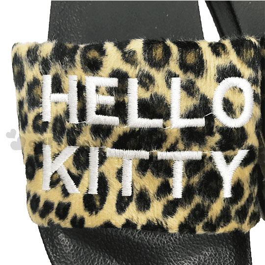 〔小禮堂〕Hello Kitty 絨布厚底拖鞋《36號.棕.大臉.豹紋》室內拖鞋 2