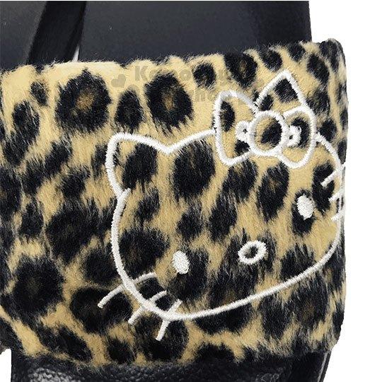〔小禮堂〕Hello Kitty 絨布厚底拖鞋《37號.棕.大臉.豹紋》室內拖鞋 1