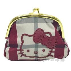 〔小禮堂〕Hello Kitty 尼龍口金化妝包《米紅.格紋》手拿包.收納包