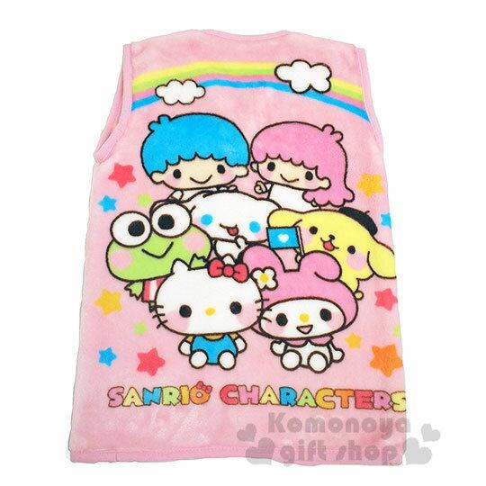 〔小禮堂〕Sanrio大集合 兒童絨毛拉鍊背心毯《粉.角色》50x30cm.保暖毯.居家服 1