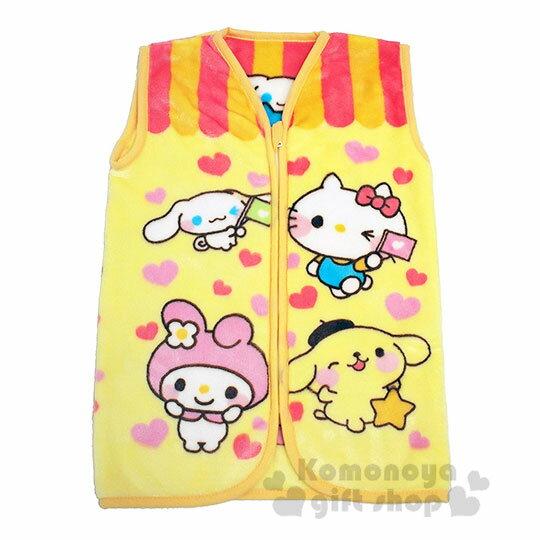 〔小禮堂〕Sanrio大集合 兒童絨毛拉鍊背心毯《黃.角色》50x30cm.保暖毯.居家服 0