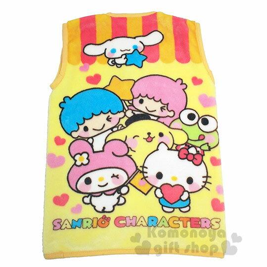 〔小禮堂〕Sanrio大集合 兒童絨毛拉鍊背心毯《黃.角色》50x30cm.保暖毯.居家服 1