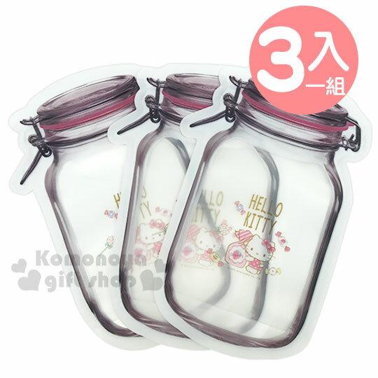 〔小禮堂〕Hello Kitty 造型食物保鮮夾鏈袋組《L.3入.粉.糖果》收納袋.密封袋 0