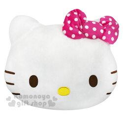 〔小禮堂〕Hello Kitty 造型絨毛抱枕《L.粉白.大臉》靠枕.靠墊