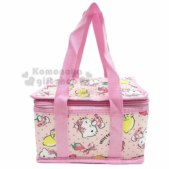 〔小禮堂〕Hello Kitty 立體方型手提保溫保冷袋《S.粉.萊姆》野餐袋.便當袋.手提袋 0