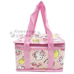 〔小禮堂〕Hello Kitty 立體方型手提保溫保冷袋《S.粉.萊姆》野餐袋.便當袋.手提袋