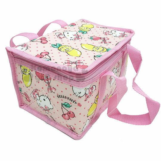 〔小禮堂〕Hello Kitty 立體方型手提保溫保冷袋《S.粉.萊姆》野餐袋.便當袋.手提袋 1
