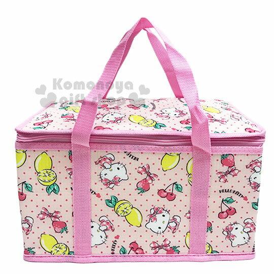 〔小禮堂〕Hello Kitty 立體方型手提保溫保冷袋《L.粉.萊姆》野餐袋.便當袋.手提袋 0