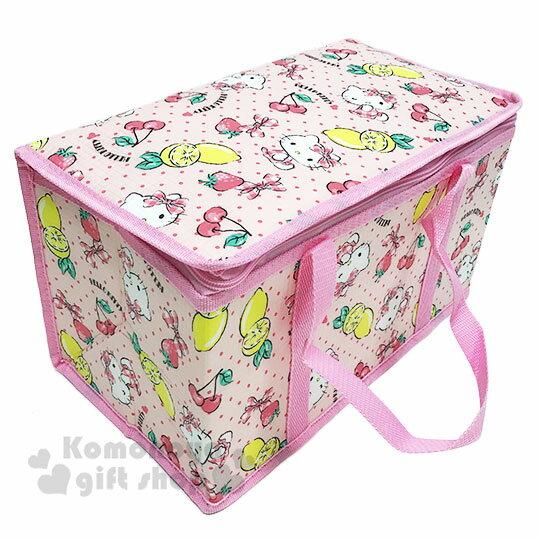 〔小禮堂〕Hello Kitty 立體方型手提保溫保冷袋《L.粉.萊姆》野餐袋.便當袋.手提袋 1