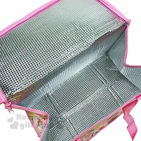 〔小禮堂〕Hello Kitty 立體方型手提保溫保冷袋《L.粉.萊姆》野餐袋.便當袋.手提袋 2