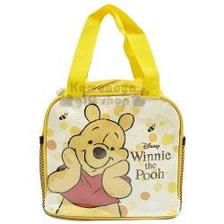 〔小禮堂〕迪士尼 小熊維尼 方型尼龍手提便當袋《黃.大臉》手提袋