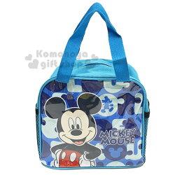 〔小禮堂〕迪士尼 米奇 方型尼龍手提便當袋《藍.撐腰》手提袋