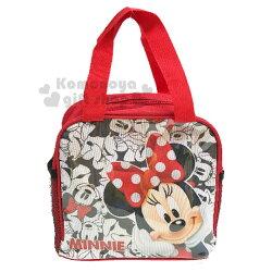 〔小禮堂〕迪士尼 米妮 方型尼龍手提便當袋《紅.摸臉》手提袋