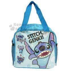 〔小禮堂〕迪士尼 史迪奇 方型尼龍手提便當袋《藍.舉手》手提袋