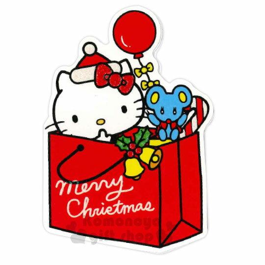 〔小禮堂〕Hello Kitty 造型耶誕卡片《紅綠.紙袋》賀卡.聖誕卡.聖誕送禮
