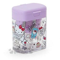 〔小禮堂〕Hello Kitty 日製方型雙孔削筆器《紫.插圖》削鉛筆器.學童文具