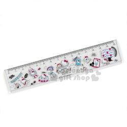 〔小禮堂〕Hello Kitty 日製透明塑膠尺《粉.插畫》15cm.量尺.直尺.學童文具