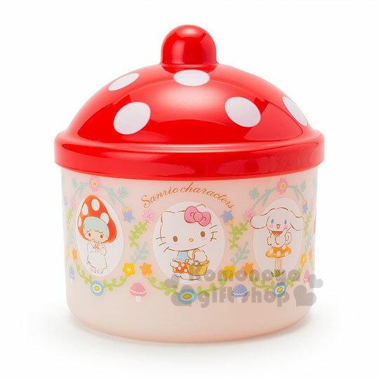 〔小禮堂〕Sanrio大集合 圓型塑膠收納罐《米紅》置物盒.飾品盒.蘑菇市集系列