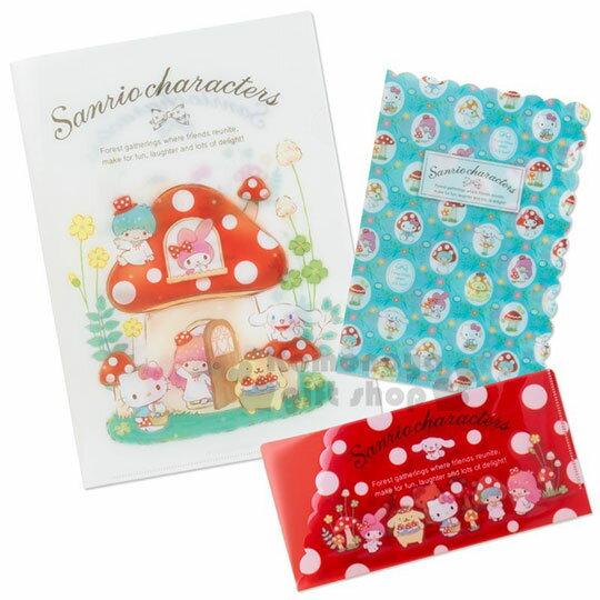 〔小禮堂〕Sanrio大集合 日製L型文件夾組《3入.白紅》L夾.資料夾.檔案夾.蘑菇市集系列