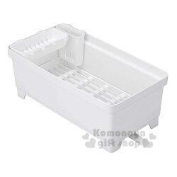 〔小禮堂〕日本INOMATA 日製方型排水式瀝水籃架《白》置物架.餐具架.碗盤架