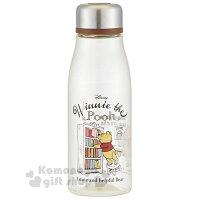 小熊維尼周邊商品推薦〔小禮堂〕迪士尼 小熊維尼 透明隨身冷水瓶《銀蓋.看書》500ml.水壺.隨身瓶