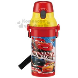 〔小禮堂〕迪士尼 Cars 閃電麥坤 日製直飲式水壺《紅黃.賽車》480ml.水瓶.兒童水壺