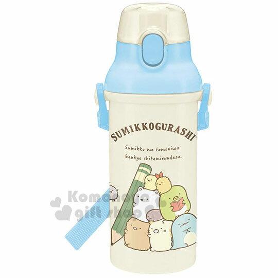 〔小禮堂〕角落生物 日製直飲式水壺《米藍.抱鉛筆》480ml.水瓶.兒童水壺