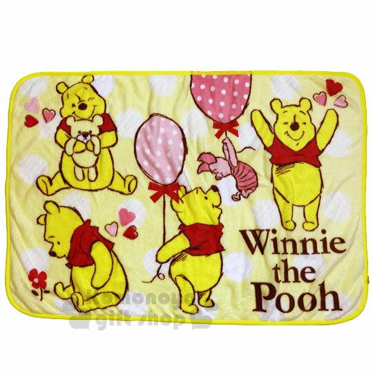 〔小禮堂〕迪士尼 小熊維尼 圓角毛毯披肩《黃.汽球》70x100cm.薄毯.單人毯 0