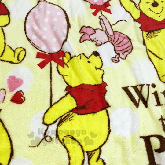 〔小禮堂〕迪士尼 小熊維尼 圓角毛毯披肩《黃.汽球》70x100cm.薄毯.單人毯 1