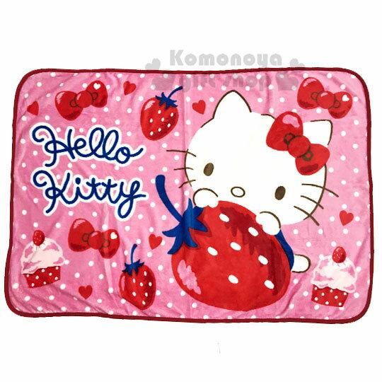 〔小禮堂〕Hello Kitty 圓角毛毯披肩《紅.草莓》70x100cm.薄毯.單人毯 0
