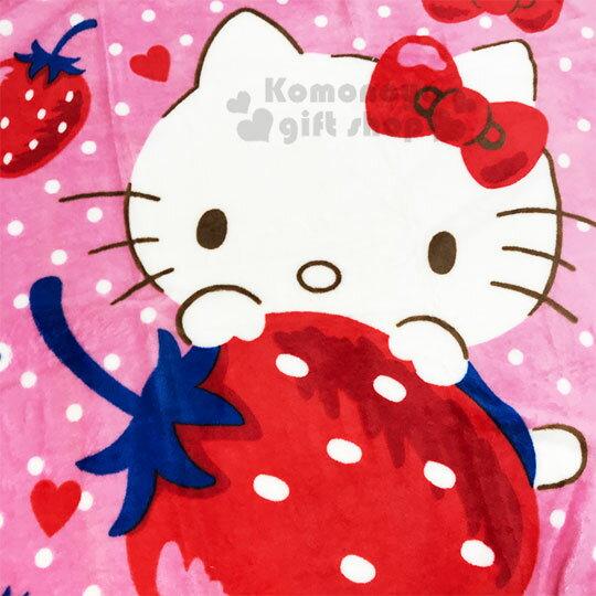 〔小禮堂〕Hello Kitty 圓角毛毯披肩《紅.草莓》70x100cm.薄毯.單人毯 1