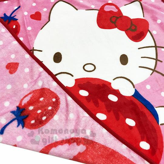 〔小禮堂〕Hello Kitty 圓角毛毯披肩《紅.草莓》70x100cm.薄毯.單人毯 3