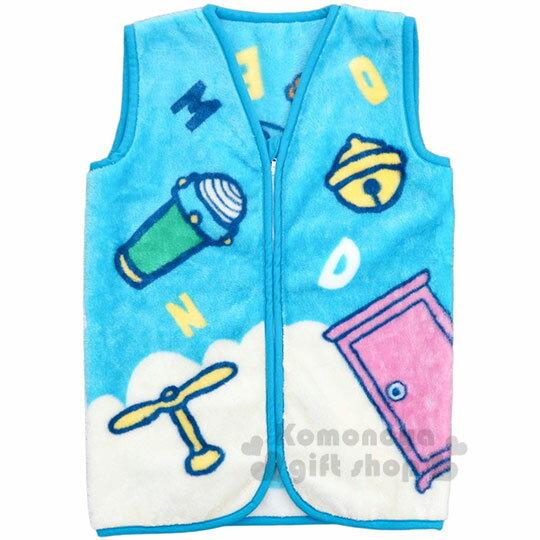 〔小禮堂〕哆啦A夢 成人絨毛拉鍊背心毯《藍.道具》50x30cm.保暖毯.居家服 0