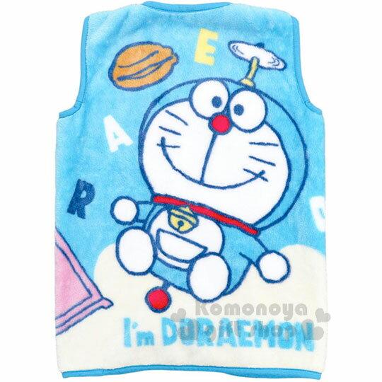 〔小禮堂〕哆啦A夢 成人絨毛拉鍊背心毯《藍.道具》50x30cm.保暖毯.居家服 1