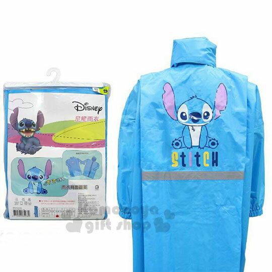 〔小禮堂〕迪士尼 史迪奇 成人前開式尼龍雨衣《XL.藍.坐姿》雨具 0