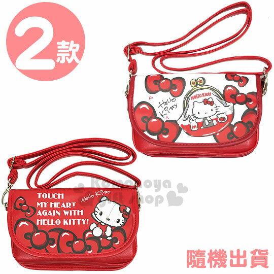 〔小禮堂〕Hello Kitty 皮質扣式觸控斜背手機包《2款隨機.紅》手拿包.斜背包.收納包