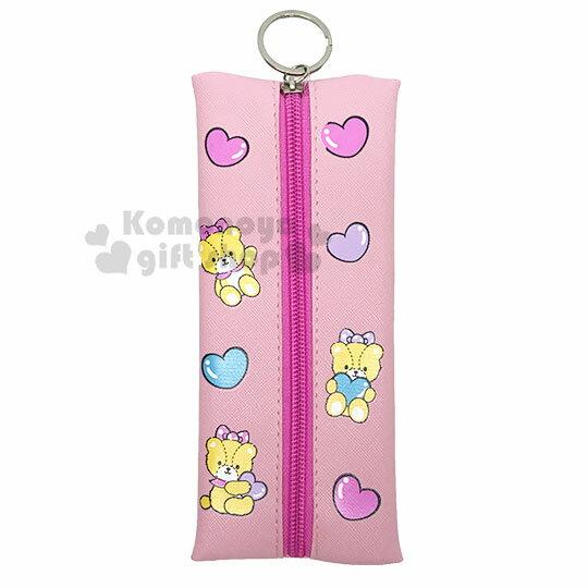 〔小禮堂〕Hello Kitty 扁平皮質拉鍊筆袋《粉.點點洋裝》化妝包.收納包.鉛筆盒