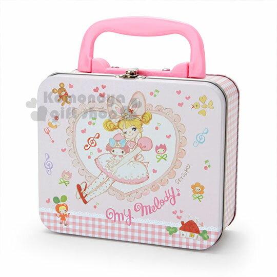 〔小禮堂〕美樂蒂 方形手提收納鐵盒《粉白》飾品盒.置物盒.空盒.童趣插畫系列