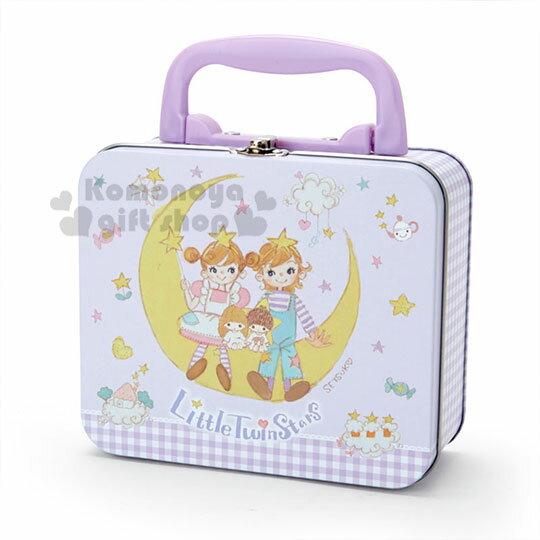 〔小禮堂〕雙子星 方形手提收納鐵盒《紫白》飾品盒.置物盒.空盒.童趣插畫系列
