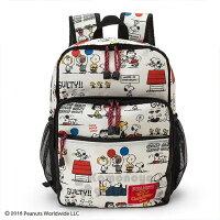 史努比Snoopy商品推薦,史努比包包/後背包推薦到〔小禮堂﹞史努比 尼龍雙層拉鍊後背包《米黑.漫畫圖》雙肩包.外出包.書包