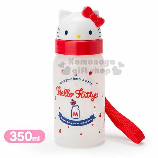 〔小禮堂〕Hello Kitty 美樂蒂 造型吸管水壺附腕繩《大臉》350ml.兒童水壺.水瓶 1
